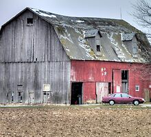 Weathered Red Barn in Northern Ohio by Terence Russell