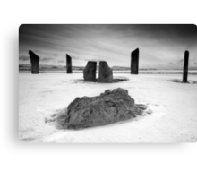 Standing Stones of Stenness - Snow Scene in B&W Canvas Print