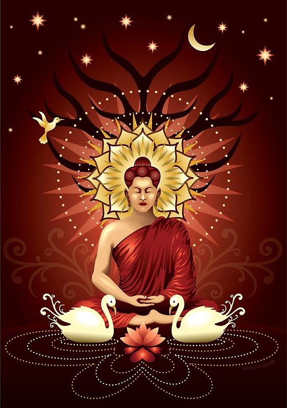 Buddha's moment of enlightenment by Sarah Jane Bingham
