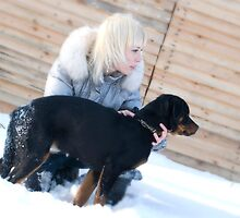 Blond Girl & Rottweiler Puppy by VioDeSign