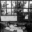 Notes on the old table in a front of the big vintage window by IgorPetrovic