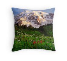 Rainier Wildflowers Throw Pillow