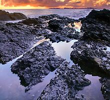 Dawn Reflections - Currumbin Beach by Shelley Warbrooke