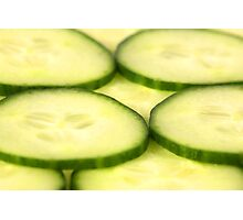 Closeup Shot of Cucumber Slices Photographic Print