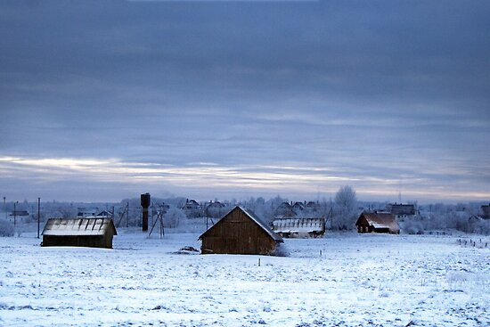 Village in winter by Antanas