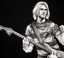 Kurt Cobain of Nirvana by whiterabbitart