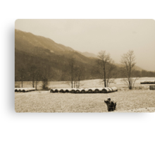 Snow Storm in Poor Valley (sepia) Canvas Print