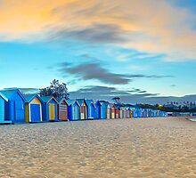 Brighton Beach Bathing Boxes Sunrise by Darren Greenwell
