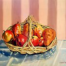 Still Life Painting - Fruit Basket - 12 x 16 Oil  by Daniel Fishback