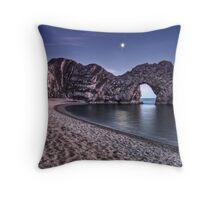 Moonlight Over Durdle Door Throw Pillow
