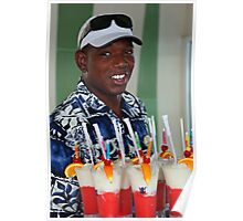 Warm smile and colourful drinks Poster