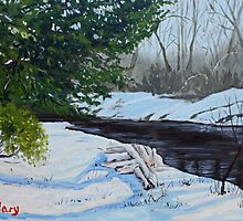 Lizard Creek in Winter (the little red tree) by fieldsendart