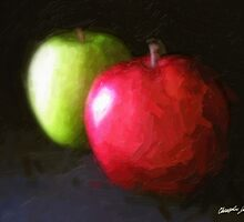 Red and Green Apples 3 Painterly by Christopher Johnson
