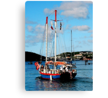 Red, White and Blue Boat at St. Thomas Canvas Print
