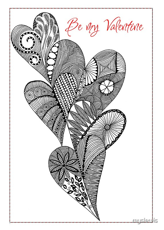 Line Drawing Valentine : Quot be my valentine heart line drawing by myslewis redbubble