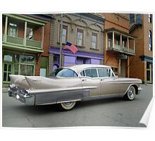 1958 Cadillac on Main Street in downtown Shawnee, Ohio.  Poster