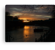 SunSet on the River Dee, Chester. UK Canvas Print