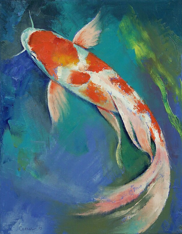 Kohaku butterfly koi by michael creese redbubble for Michael koi pond