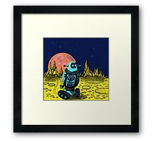 Lonely robot on remote planet darwing Framed Print
