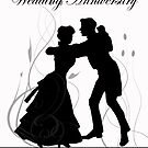 Wedding Anniversary Invitation Black And White Dancing Couple  by Moonlake