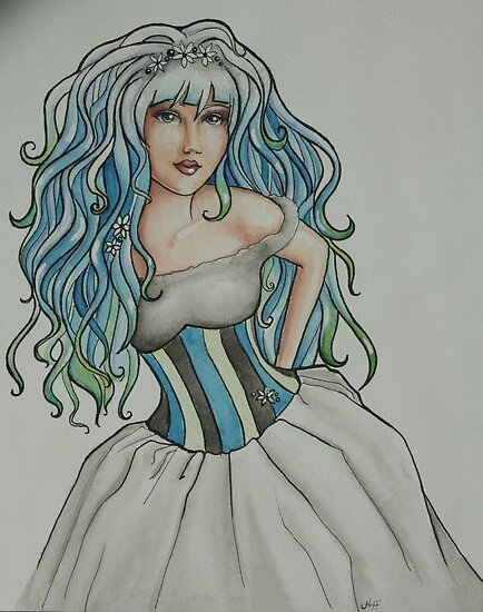 "Watercolor painting ""Tess"" Harajuku Hair by Jaymilina"
