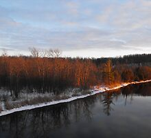 Sunsetting On The Trent River- Hastings Ontario Canada by Tracy Faught