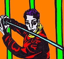 Man Holding Kendo Sword in TechnoColour by Kyleacharisse