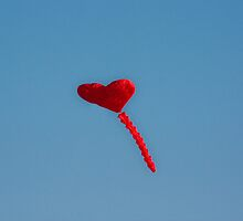 Red Love Heart Kite by fandangle-art