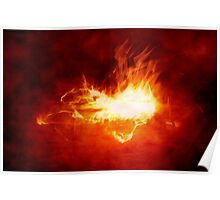 Abstract Digital Heart on Fire Poster