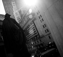 New York Wall Street & Stock Exchange 3 Black and White by Gerald Holubowicz