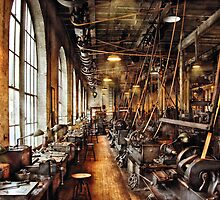 Machinist - Machine Shop Circa 1900's by Mike  Savad