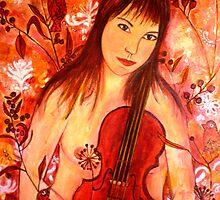 """Girl and her Violin by Belinda """"BillyLee"""" NYE (Printmaker)"""