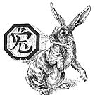 Chinese Zodiac - The Rabbit (black-and-white) by Stephanie Smith