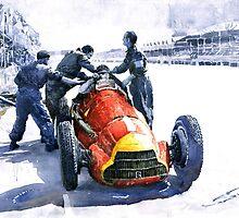 Pit Stop Alfa Romeo158 British GP 1950 J M Fangio by Yuriy Shevchuk