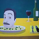 Self Portrait Braised with Rice and Broccoli by Rudy Pavlina