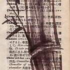 """Bamboo sketch"" #135 - Dictionary india ink brush pen drawing/painting by Rebecca Rees"