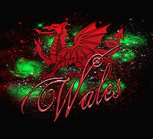 St. David's Day Card With Welsh Dragon And Wales  by Moonlake