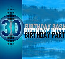 30th Birthday Party Invitation Modern Blue  by Moonlake