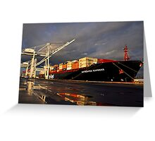 Container Ship in Sunset Greeting Card