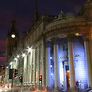Evening lights red and blue by christopher363