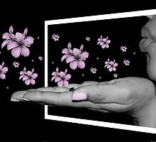 Blow me a Kiss with Flowers (3D Pop out) by kellicoley
