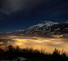 Aosta by foggy night by Jc N