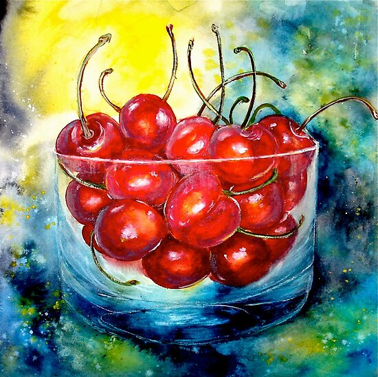 Cherries....Life is Just a Bowl of Cherries by  Janis Zroback