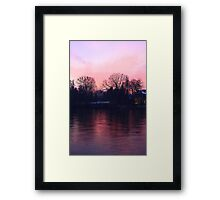 Pinky sunset over the river Po Framed Print