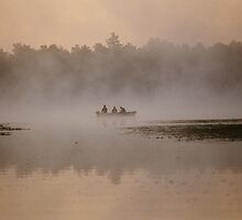 Three men in a boat by Cushman