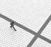 Lonely Walker Crossing Cathedral Square by marklincoln