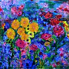 Flowers growing up a blue wall - semiabstract by Regina Valluzzi
