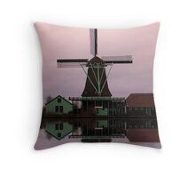 Windmill Zaanse Schans Throw Pillow