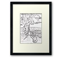 Abstract sea creature - pen and ink on paper Framed Print