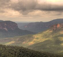 Shadows And Light - Govetts Leap, Blue Mountains World Heritage Area - The HDR Experience by Philip Johnson